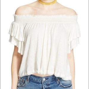 Free people navy off the shoulder top